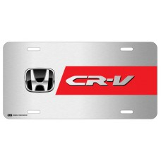 Honda CR-V Black Logo with Red Line on Brushed Steel License Plate