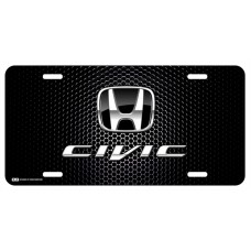 Honda Civic Black Logo on Black License Plate