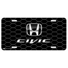 Honda Civic Black Logo on Black Hex License Plate
