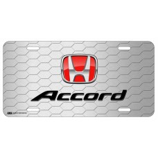 Honda Accord Red Logo on Grey Hex License Plate