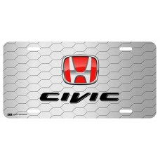 Honda Civic Red Logo on Grey Hex License Plate