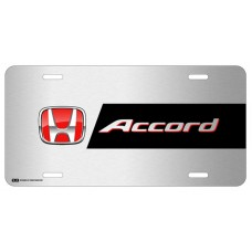 Honda Accord Red Logo on Brushed Steel License Plate