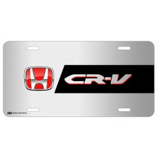 Honda CR-V Red Logo on Brushed Steel License Plate
