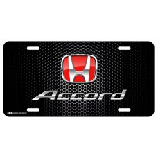 Honda Accord Red Logo on Black License Plate