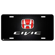 Honda Civic Red Logo on Black License Plate