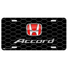 Honda Accord Red Logo on Black Hex License Plate