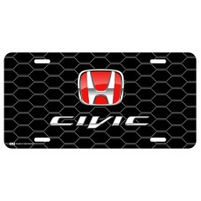 Honda Civic Red Logo on Black Hex License Plate