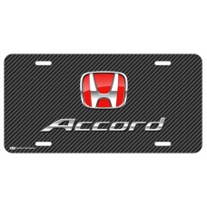 Honda Accord Red Logo on Black Line License Plate