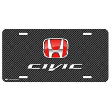 Honda Civic Red Logo on Black Line License Plate