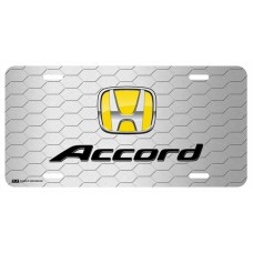 Honda Accord Yellow Logo on Grey Hex License Plate