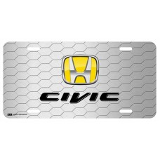 Honda Civic Yellow Logo on Grey Hex License Plate