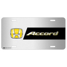 Honda Accord Yellow Logo on Brushed Steel License Plate