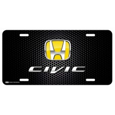 Honda Civic Yellow Logo on Black License Plate