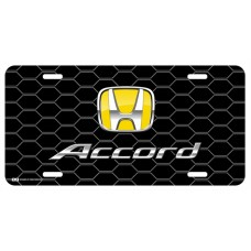 Honda Accord Yellow Logo on Black Hex License Plate