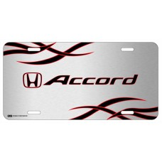 Honda Accord Red and Black Logo on Brushed Steel License Plate