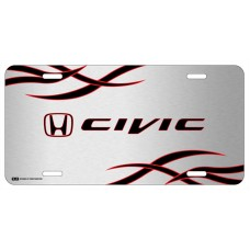 Honda Civic Red and Black Logo on Brushed Steel License Plate