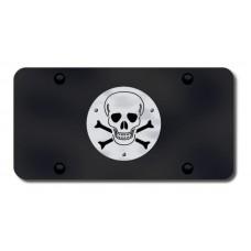Skull and Crossbones Logo on Black License Plate