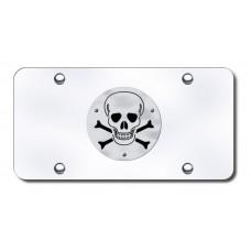 Skull and Crossbones Logo on Chrome License Plate