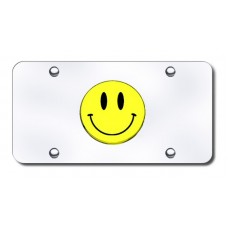 Smiley Face Logo on Chrome License Plate