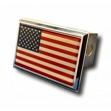 US Flag Chrome Trailer Hitch Plug