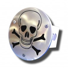 Skull (Laser Cut) Brushed Stainless Steel Trailer Hitch Plug