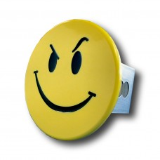 Smiley Face with Smirk Chrome Trailer Hitch Plug