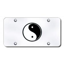 Yin Yang Logo on Chrome License Plate
