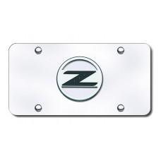 Nissan Z Logo Black on Chrome License Plate