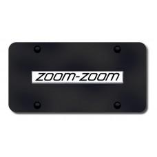 Mazda Zoom Zoom Chrome on Black License Plate