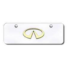 Infiniti Logo Gold on Chrome Mini License Plate