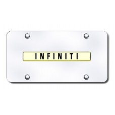 Infiniti Name Gold on Chrome License Plate