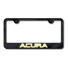 Acura 3D Gold on Black Metal License Plate Frame