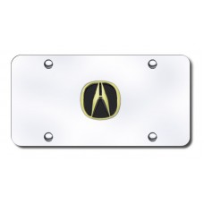Acura Gold Logo on Chrome License Plate