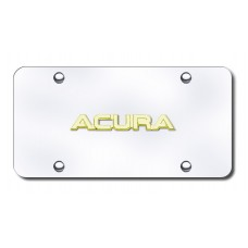 Acura Name Gold on Chrome License Plate