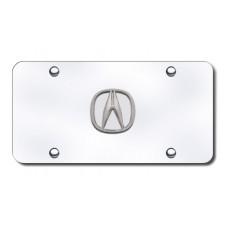 Acura Logo 'No Fill' Chrome on Chrome License Plate