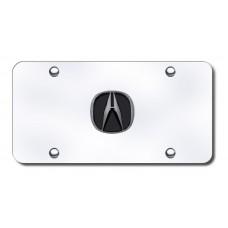 Acura Logo BlkPearl on Chrome License Plate