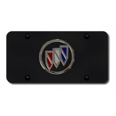 Buick Logo Chrome on Black License Plate