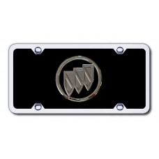 Buick Chrome on Black (No Fill) Acrylic License Plate Kit