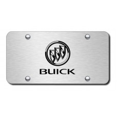 Buick Laser Etched on Brushed Stainless Steel License Plate