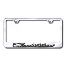 Cadillac 3D Black on Chrome Frame Metal License Plate Frame