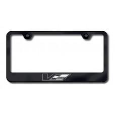 Cadillac V Logo Laser Etched Black License Plate Frame