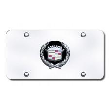 Cadillac Logo Black/Chrome on Chrome License Plate