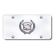 Cadillac Logo Chrome on Chrome License Plate