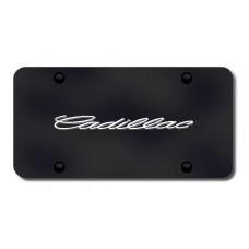 Cadillac Name Chrome on Black License Plate