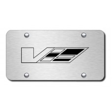 Cadillac V Laser Etched Brushed Stainless Steel License Plate