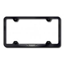 Chrysler Logo Laser Etched Wide Body Black License Plate Frame
