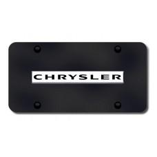 Chrysler Name Chrome on Black License Plate