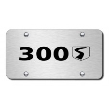 300S Name Laser Etched on Brushed Stainless Steel License Plate