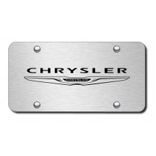 Chrysler (NEW) Name & Logo Laser Etched on Brushed Stainless License Plate