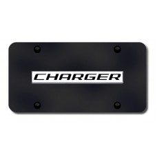 Charger Name Chrome on Black License Plate